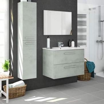 Colonna mobile bagno moderno sospeso Kit Aruba. Mobili bagno Fores sospesi in legno, colore cemento.