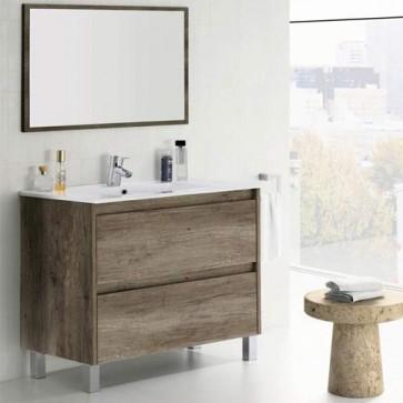 Mobile bagno moderno Dakota con due cassettoni in rovere. Mobili bagno Fores in legno completo di specchio.