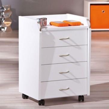 Cassettiera scrivania ufficio in legno 4 cassetti bianca con ruote. Cassettiere scrivanie per arredamento camerette con rotelle.