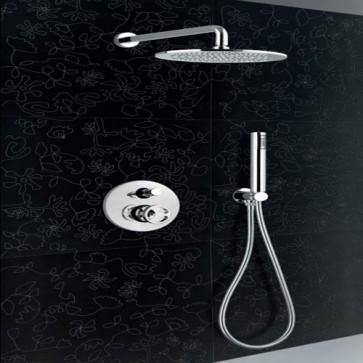 Kit doccia completo di soffione cilindrico ottone diametro 25 cm, un miscelatore incasso, deviatore 2 uscite e kit doccia con supporto doccetta.