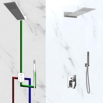 Kit doccia completo di soffione da parete rettangolare in acciaio inox. Mix incasso doccia con deviatore due uscite, flessibile e doccino in ABS cromato abbinato.