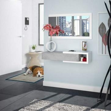 Mobile ingresso Fores bianco e cemento con specchio. Mobili entrata design moderno con cassetto reversibile e specchi