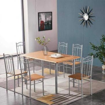 Tavolo e sedia da cucina, con struttura in acciaio e MDF. Set tavoli completo di 6 sedie