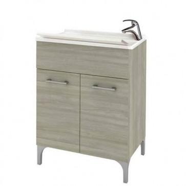 Kit mobile lavatoio in legno rovere grigio 60x50 cm. Lavatoio lavanderia con vasca e tavoletta lavaggio in polipropilene