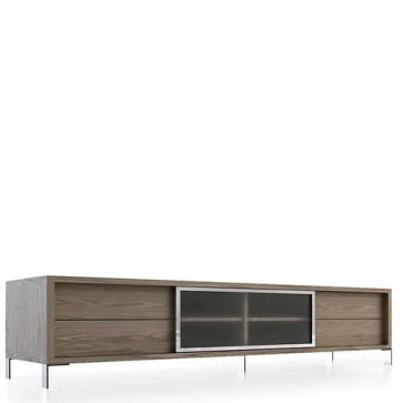 Mobile porta tv Angel Cerdà in legno e ante in vetro. Mobili credenza basso, dimensioni 238x53x51 cm