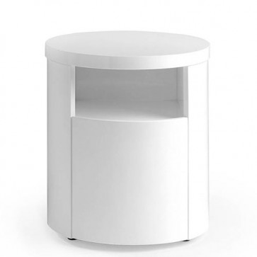 Comodino moderno Angel cerdà laccato bianco con cassetto nascosto. Comodini in legno ideali in camera da letto.