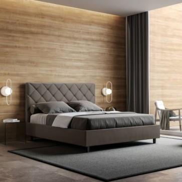 Letto matrimoniale contenitore due piazze per camera da letto, letti matrimoniali contenitori in similpelle cappuccino con rete e materasso
