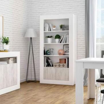 Libreria scaffale sovrapponibile bianco anticato, librerie componibili e modulari con due ante e quattro ripiani