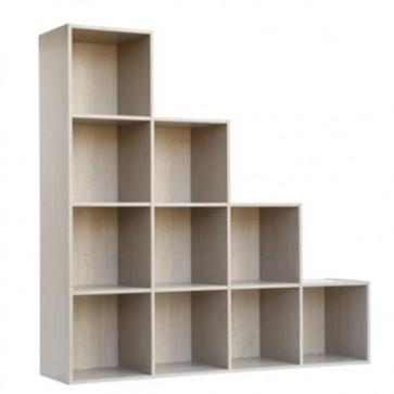 Libreria scaffale componibile frassino, librerie divisoria componibili con 10 cubi in legno melaminico.
