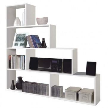Libreria scaffale componibile bianca, librerie divisoria bifacciale con 6 vani in legno melaminico dimensioni 145x145x29 cm.