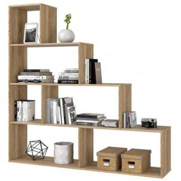 Libreria scaffale componibile rovere, librerie divisoria bifacciale con 6 vani in legno melaminico dimensioni 145x145x29 cm.