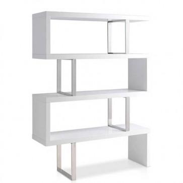 Libreria design in acciaio e legno Angel Cerdà per casa e ufficio. Librerie componibili laccate bianche.