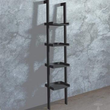 Mobile libreria scaletta a muro in MDF laccata nero opaco, librerie scala Tomasucci a parete ideale a casa e in ufficio.