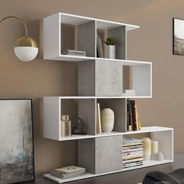 Libreria componibile bianca, librerie divisoria bifacciale cemento con 4 ripiani in legno