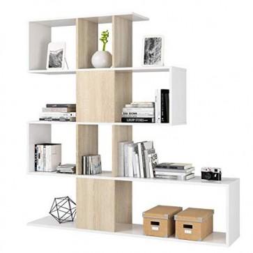 Libreria componibile bianca, librerie divisoria bifacciale rovere con 4 ripiani in legno melaminico