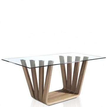 Tavolo da pranzo rettangolare in legno, tavoli da salotto con piano in vetro Angel Cerdà.
