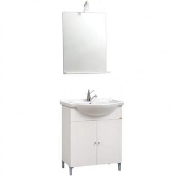 Kit Mobile bagno moderno Desy. Mobili in legno laccato bianco completo di specchio con illuminazione alogena e lavabo.
