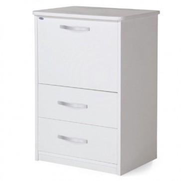Mobile lavanderia bianco frassinato, con asse da stiro richiudibile. Mobiletto stiro salvaspazio a scomparsa con cassetti, ideale anche in bagno.