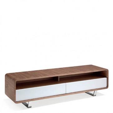Mobile porta tv Angel Cerdà in legno impiallacciato noce con due cassetti laccati bianch