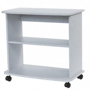 Mobile porta Pc e stampante in legno bianco cemento. Carrello mobiletto porta tv con ruote e mensole per cucina e salone