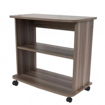 Mobile porta Pc e stampante in legno noce castiglia. Carrello mobiletto porta tv con ruote e mensole ideale in cucina e salone.