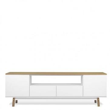 Mobile porta TV moderno TemaHome dal design minimalista in stile nordico. Mobili credenza bianca disponibile con piano in legno