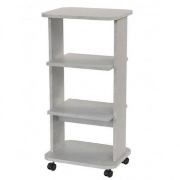 Mobile porta Pc e stampante in legno bianco cemento. Carrello mobiletto porta tv con ruote e mensole per camera da letto