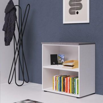 Libreria mobile ufficio a giorno in legno bianco frassinato, con top di colore cemento. Armadio multiuso con ripiani, ideale anche mobili da bagno o in cameretta dei bambini.