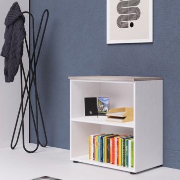 Libreria mobile ufficio a giorno in legno bianco frassinato, con top di colore olmo. Armadio multiuso con ripiani, ideale anche mobili da bagno o in cameretta dei bambini