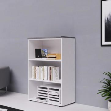 Libreria mobile ufficio a giorno in legno bianco frassinato con top in cemento. Armadio multiuso con ripiani, ideale anche mobili da bagno o in cameretta dei bambini.