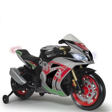 Moto elettrica per bambini Aprilia RSV con batteria 12 Volt, luci a led e musica. Motocicletta per bambino con ingresso Mp3 e ruote in gomm