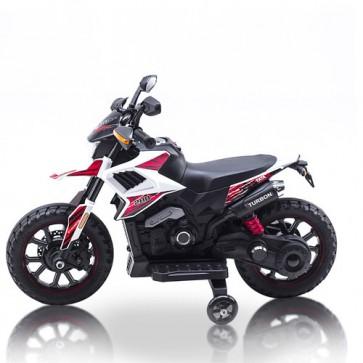 Motocross per bambini con batteria 12 volt, musica e retromarcia. Motocicletta elettrica enduro per bambino con rotelle e ruote con fascia in gomma.
