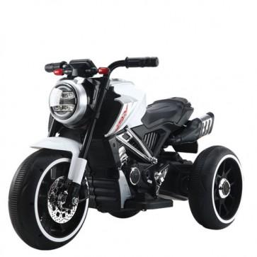 Motocicletta elettrica per bambini modello ducati con batteria 12 Volt e bluetooth. Moto da corsa bianca per bimbi con tre ruote, luci e suoni.