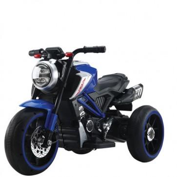 Motocicletta elettrica per bambini modello ducati con batteria 12 Volt e bluetooth. Moto da corsa blu per bimbi con tre ruote, luci e suoni.