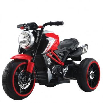 Motocicletta elettrica per bambini modello ducati con batteria 12 Volt e bluetooth. Moto da corsa rossa per bimbi con tre ruote, luci e suoni.
