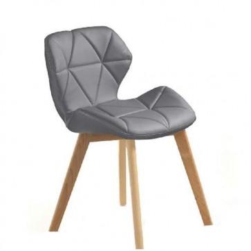 Sedia poltrona in legno massello con finitura in rovere, sedie design Tomasucci in pelle sintetica grigia