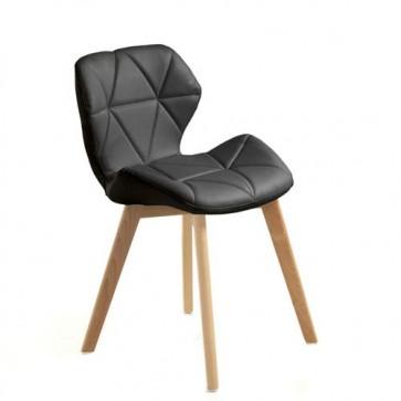 Sedia poltrona in legno massello con finitura in rovere, sedie design Tomasucci in pelle sintetica nera