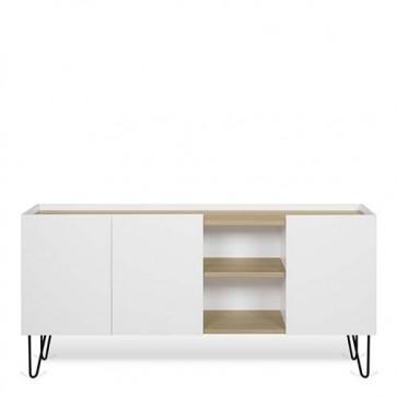 Credenze buffet biancaTemaHome con 3 ante. Mobile basso in legno per cucina e soggiorno, misure 83x180x42 cm.