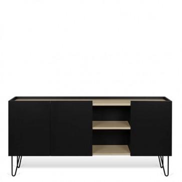 Credenze buffet nera TemaHome con 3 ante. Mobile basso in legno per cucina e soggiorno, misure 83x180x42 cm.