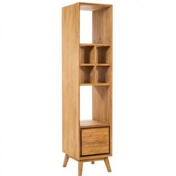 Mobile bagno colonna vintage, mobili bagno Cipì in legno di teak naturale con cassetto.