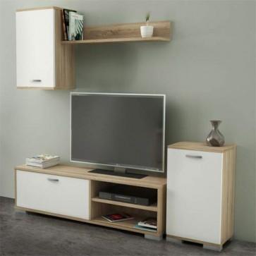 Mobile porta TV basso Kitwood dal design minimalista in stile nordico. Parete attrezzata moderna rovere con pensile e mensola
