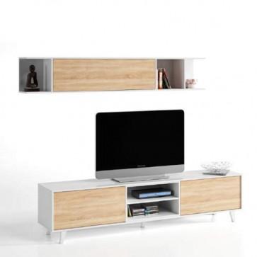 Mobile porta TV basso Fores dal design minimalista in stile nordico. Parete attrezzata moderna bianca con pensile apertura Vasistas