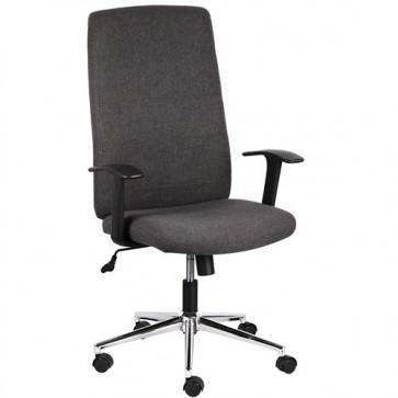 Sedia ufficio presidenziale girevole in tessuto grigio, poltrona direzionale per scrivanie con braccioli e schienale.
