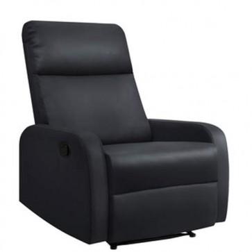 Poltrone relax reclinabile in ecopelle, poltroncina reclinabili nera con braccioli.