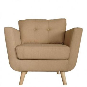 Poltrona in tessuto con gambe in legno, poltrone sofa ideale in soggiorno o camera da letto.