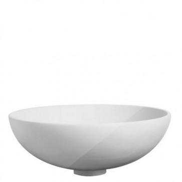 Lavabo bagno moderno da appoggio in resina, lavandino sospeso Cipì con design a ciotola di colore bianco.