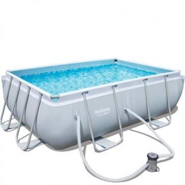 Piscina Bestway Power steel 412x201x122 cm di altezza, piscine fuoriterra rigide con scaletta e pompa filtrante inclusi.