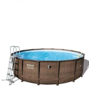 Piscina Bestway Power steel in rattan 488x122 cm di altezza, piscine fuoriterra rigide rivestite in finto vimini con scaletta, top di copertura e pompa filtrante inclusi.