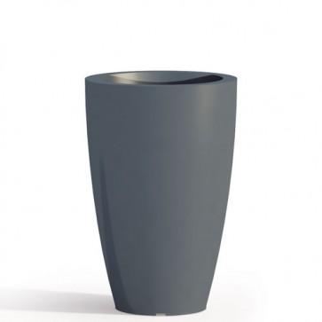Vaso da giardino in resina grigia per esterno. Vasi da interno design in polietilene, ideale per le piante e fiori del terrazzo. Dimensioni 50hx33 cm.