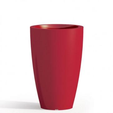 Vaso da giardino in resina rossa per esterno. Vasi da interno design in polietilene, ideale per le piante e fiori del terrazzo. Dimensioni 50hx33 cm.